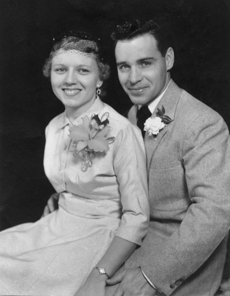 Harvey & Pat on their wedding day in October of 1956