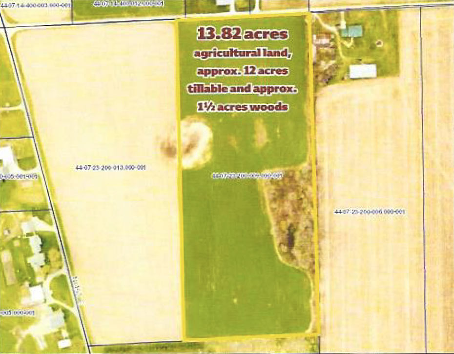 Location for agricultural land: 13.82 acres east of LaGrange, Indiana